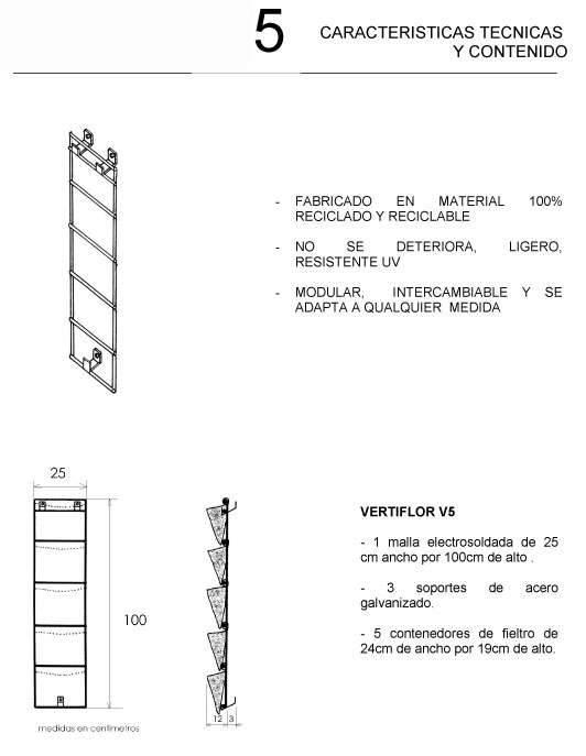 Jardin vertical 5 macetas