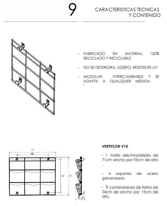 Detalles jardin vertical 9 macetas