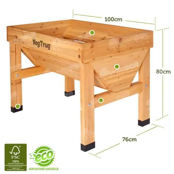Mesa de cultivo vegtrug 100x78cm oferta en cocopot huerto for Mesa de cultivo casera