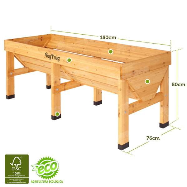 mesa de cultivo vegtrug 180x78cm oferta en cocopot huerto