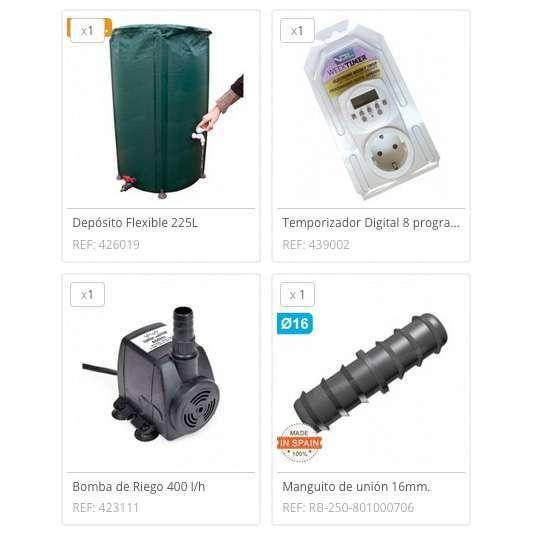 Kit riego vacaciones 225 litros cocopot riego huerto y for Jardin vertical de fieltro en formato kit