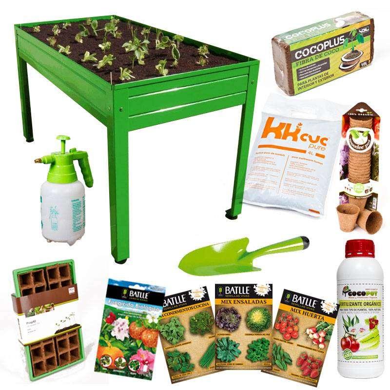 Kit iniciaci n huerto 150x75x85cm en cocopot huerto urbano for Jardin vertical de fieltro en formato kit