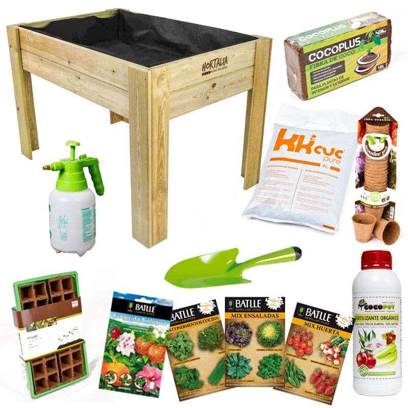 Kit huerto urbano con mesa de cultivo cocopot cultiva en for Jardin vertical de fieltro en formato kit