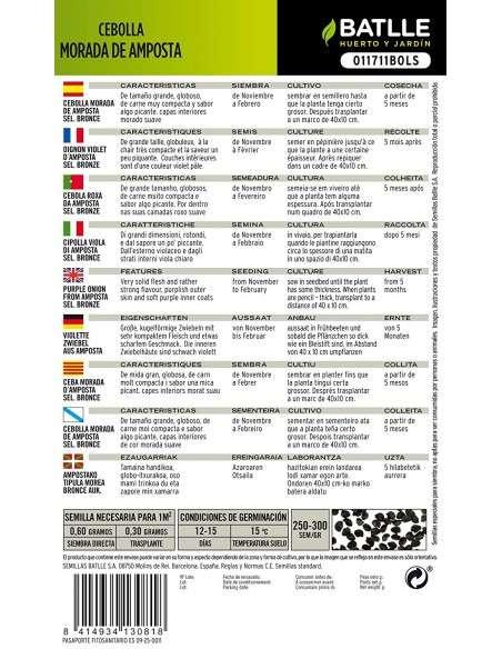 Semillas de Cebolla Morada de Amposta sel. Bronce 4g. Semillas Batlle - 2
