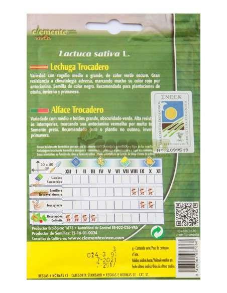Semillas Ecológicas Lechuga Trocadero 3g Semillas Clemente Viven - 2
