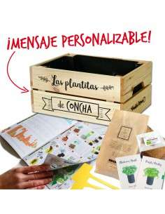 Kit Huerto Personalizable Caja Madera Pequeña COCOPOT - 1