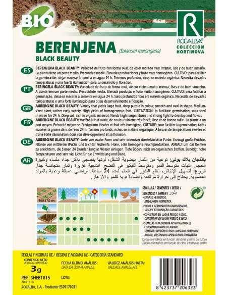 Semillas Ecológicas de Berenjena Black Beauty Rocalba - 2
