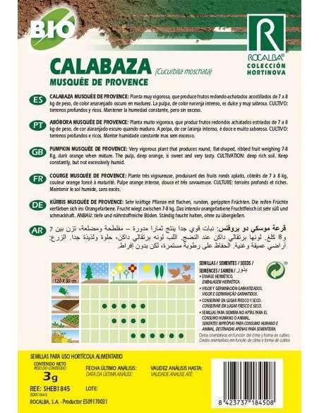 Semillas Ecológicas de Calabaza Musquée de Provence Rocalba - 2
