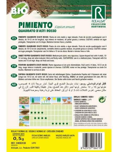Semillas Ecológicas de Pimiento Quadrato d'asti Rosso Rocalba - 2
