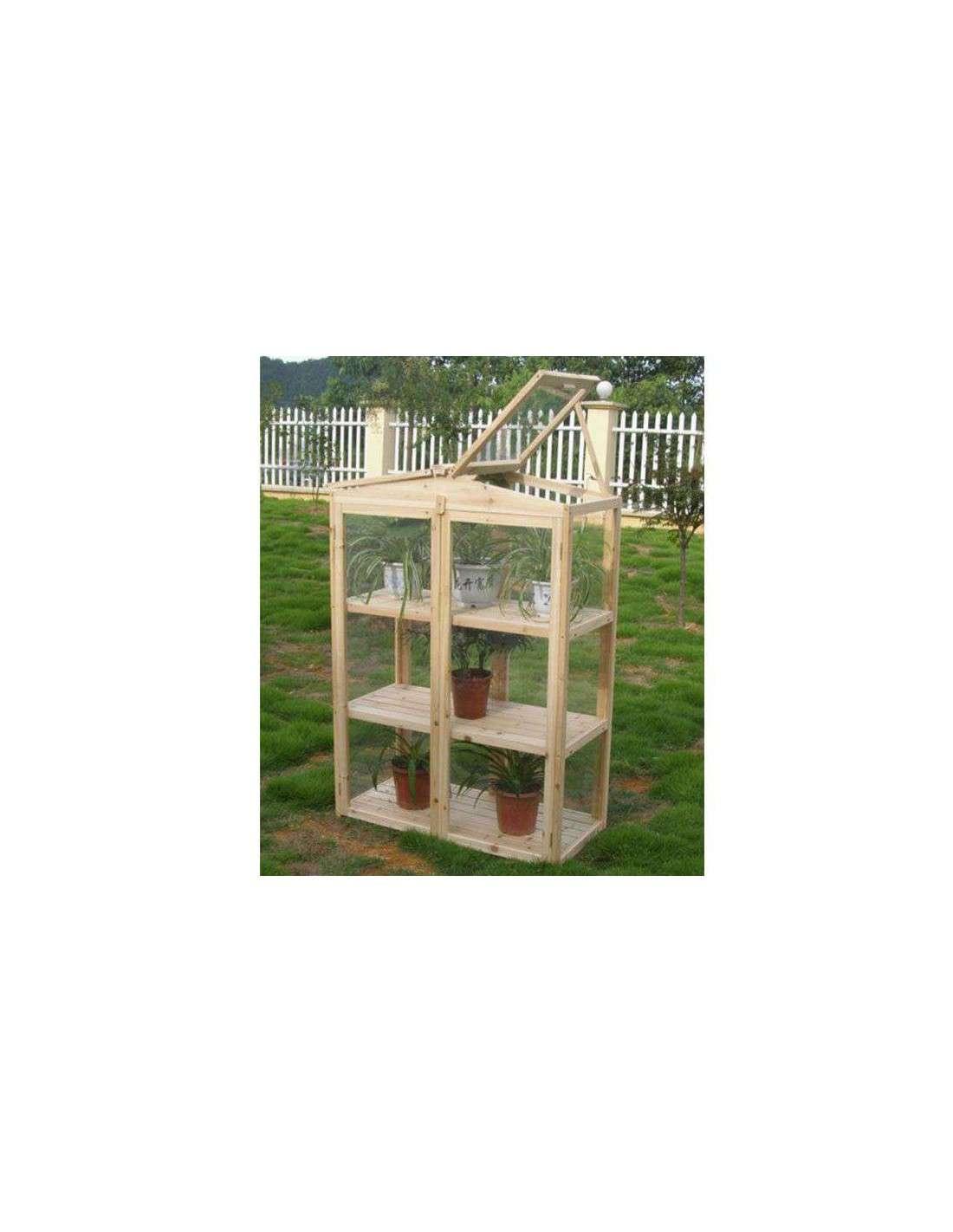 Invernadero madera para huerto y jard n de 120x48x150cm for Invernaderos de jardin