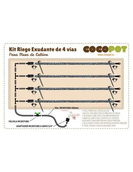 240x80 cm Kit Riego Exudante Mesa Cultivo 4 vías