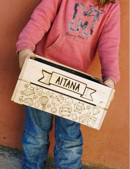 Caja Madera Personalizada con nombre - Regalo para niños, bebés o recién nacido