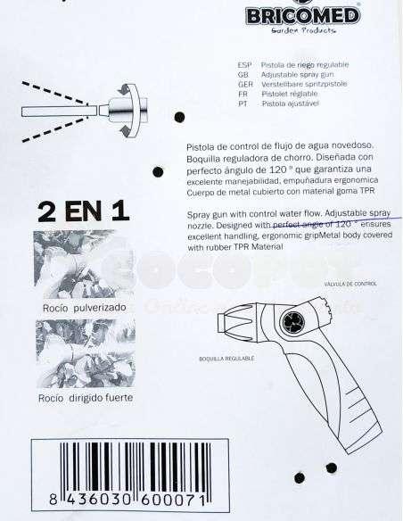 Pistola de Riego Ajustable Profesional con boquilla metálica