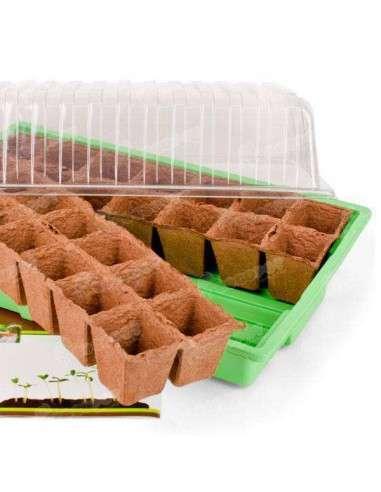Mini invernadero ligero con semillero de turba