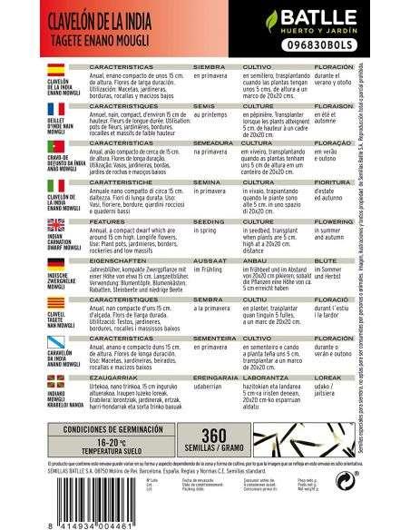 Semillas de Clavelón de la India Tagete Enano