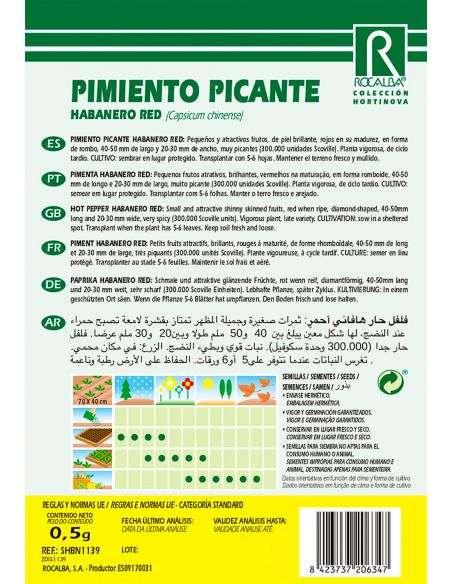 Semillas de Pimiento Picante Habanero Red 0,5g.