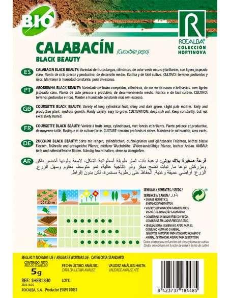 Semillas de Calabacín Black Beauty Ecológicas