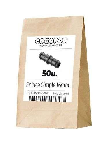 Pack Ahorro - 50u. Enlace simple unión 16mm