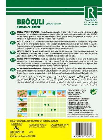 Semillas de Bróculi Verde Ramoso Calabrese Brócoli 8g.