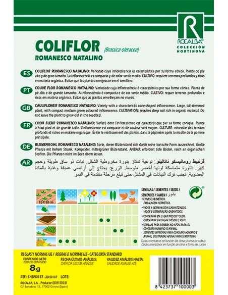 Semillas de Bróculi Coliflor Romanesco Natalino 8g.