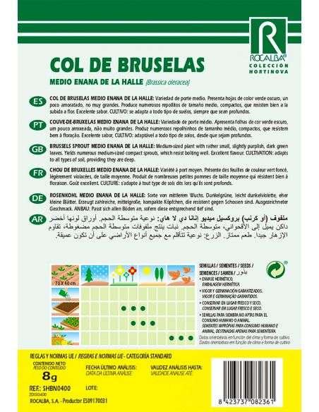 Semillas de Col de Bruselas medio enana de la Halle 8g.