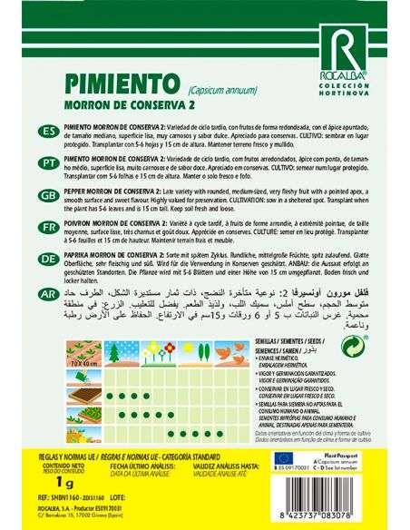 Semillas de Pimiento Morrón conserva 2 - 1g.