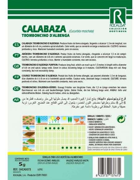 Semillas de Calabaza Tromboncino d´albenga 5g.