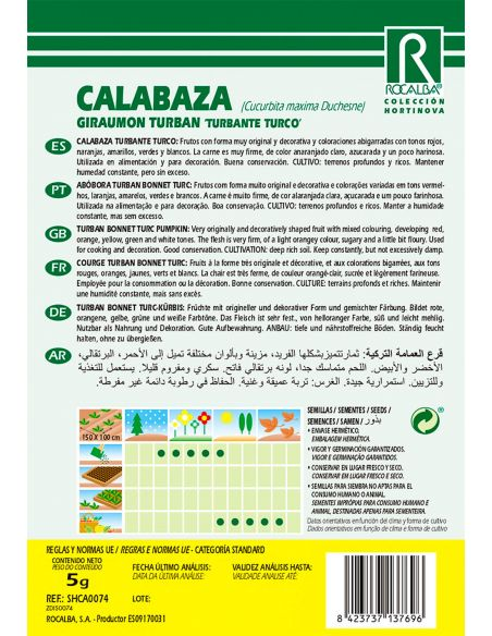 Semillas de Calabaza Turbante Turco 5g.