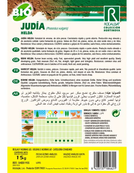 Semillas Ecológicas de Judía enrame Helda