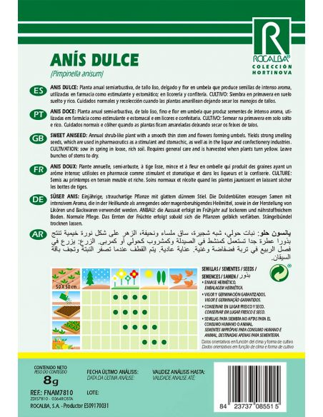 Semillas de Anís Dulce 8g.
