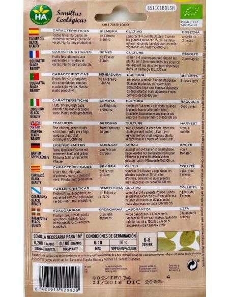 Semillas de Calabacín Black Beauty Ecológicas HA 4g.