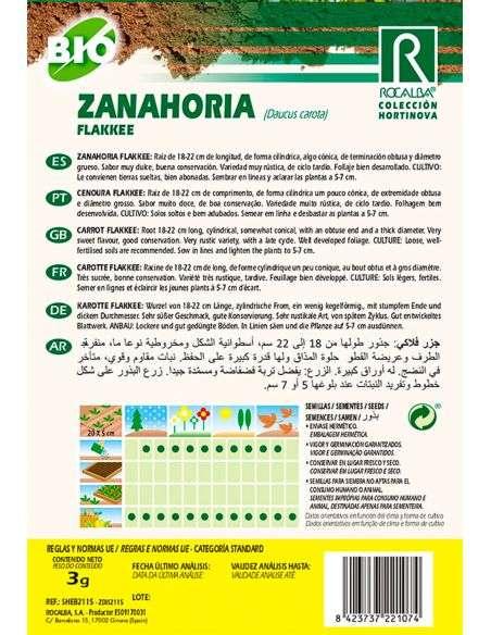 Semillas Ecológicas de Zanahoria Flakkee 3g.