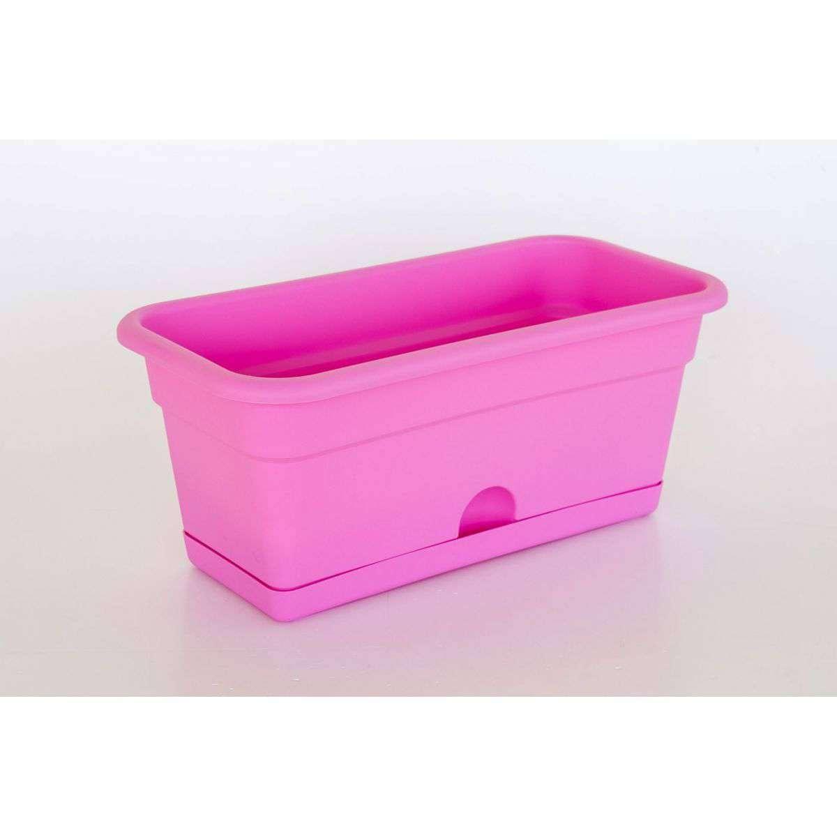 jardinera con plato xcm rosa