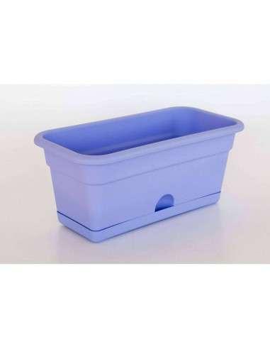 Jardinera con plato 40x20cm Azul