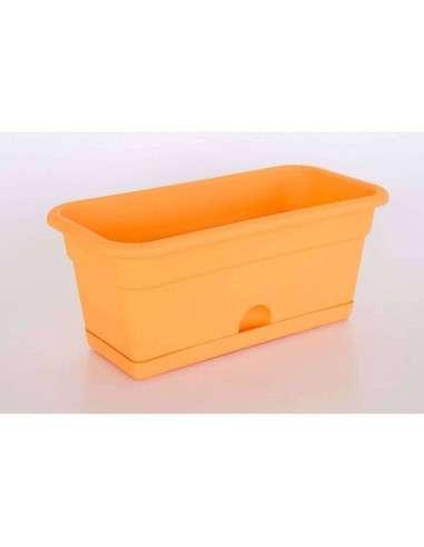 Jardinera con plato 40x20cm Naranja