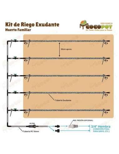 Kit Riego Exudante Huerto 200m - 100m2
