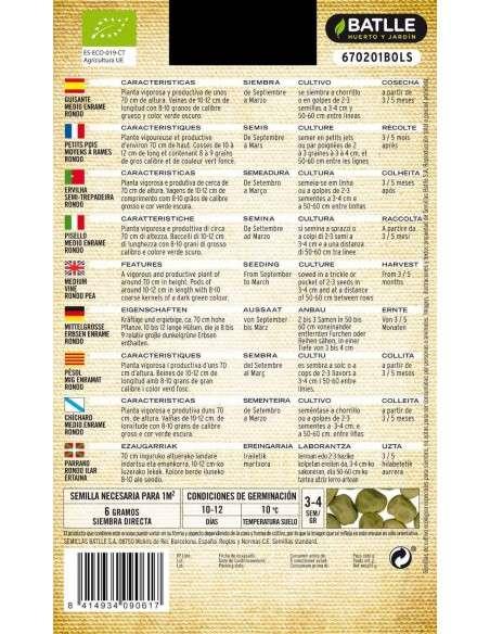 Semillas de Guisante Enrame Rondo Ecológicas Semillas Batlle - 2