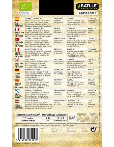 Semillas de Judía Enana Roma Sel. Perona Semillas Batlle - 2