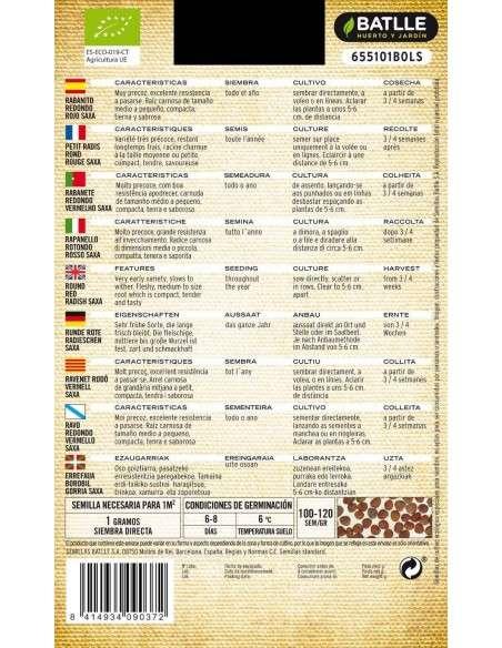 Semillas de Rabanito Redondo Rojo Ecológico 100g Semillas Batlle - 2