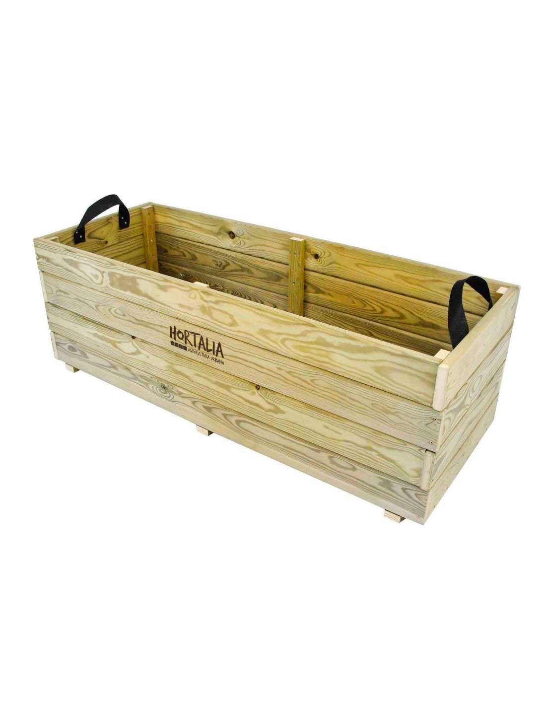 Jardinera de madera 120x45x40cm hortalia cocopot huerto urbano - Jardinera de madera ...