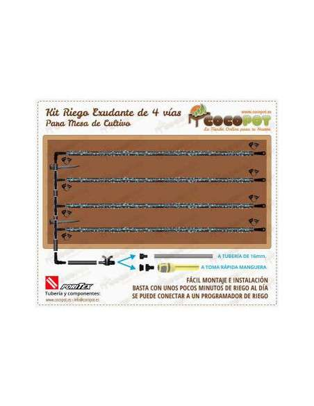 Kit Riego Exudante Mesa Cultivo PORITEX - 4