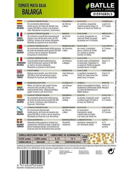 Semillas Tomate mata baja Balarga Semillas Batlle - 2