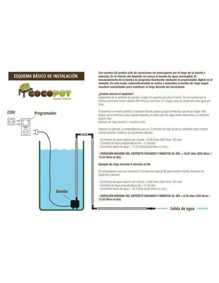 Kit Riego Vacaciones 225 litros COCOPOT - 2