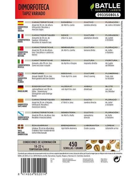 Semillas de Dimorfoteca TAPIZ Variado Semillas Batlle - 2