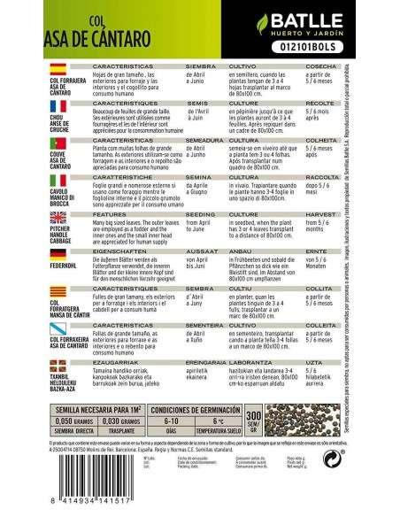 Semillas de Col Asa de Cántaro 10g. Semillas Batlle - 2