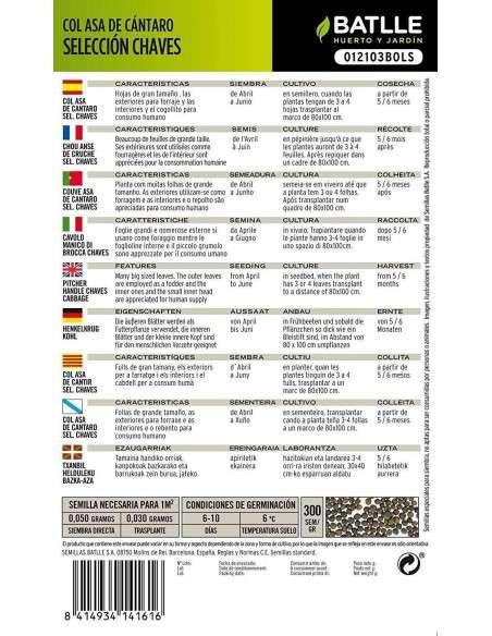Semillas de Col Asa de Cántaro - Chaves 10g. Semillas Batlle - 2