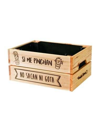 """Caja Cáctus """"Si me pinchan"""" 23x31xh15"""