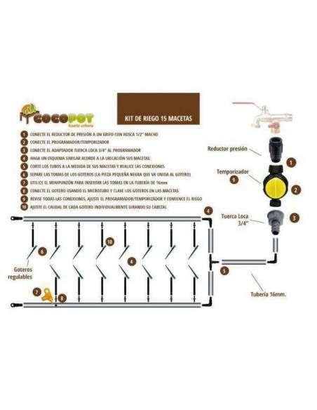Kit Riego Temporizador 15 macetas COCOPOT - 2
