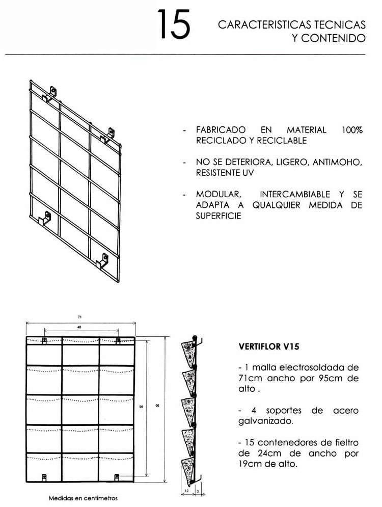 Detalles jardin vertical 15 macetas
